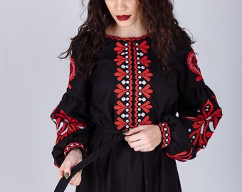 Bohemian Dress, Ukrainian  Embroidered Dress, Ukrainian Dress, Black Embroidered Dress, Boho Embroidered Dress, Boho Dress, Ukrainian Boho