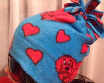 Kids size - CLIFFORD the Big red dog - fleece fun hat -great gift for dog walker, vet, librarian, teacher
