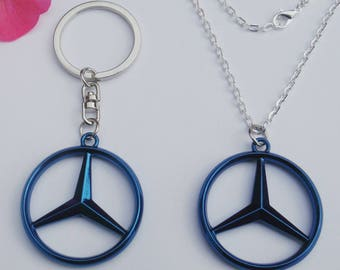 Mercedes Benz Merc Blue Limited Edition Necklace Pendant Keychain Gift Set