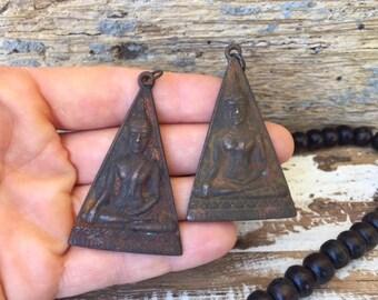 Set of 2 Thai Buddha Amulet Pendants / Thai Amulet / Buddha Amulet / Amulet Pendant / Amulet / Buddha Charm / Buddhist Amulet / TR02