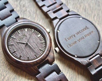 Wood Watch Engraved, FREE ENGRAVING, Wooden Watch, Mens Wooden Watch, Wedding Gift, Anniversary Gift, Groomsmen Gift, Mens Wood Watch, Wood