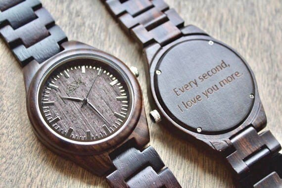 Watch As Wedding Gift: Wood Watch Engraved, FREE ENGRAVING, Wooden Watch, Mens