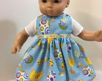 "15 inch Bitty Baby Clothes,""EASTER"" Dress with Cool Easter Eggs & Baby Chicks, 15 inch AG Bitty Baby/Twin Clothes, 15 inch Baby Doll Clothes"