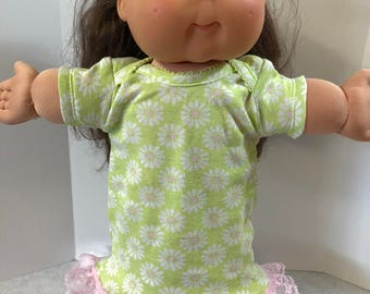 "Cabbage Patch Doll Clothes 16 inch Doll, Pretty ""White with Pink DAISY"" Nightgown, 16 inch Cabbage Patch Clothes, Fits 15 inch Bitty Baby"