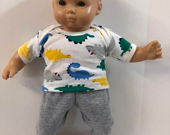 "BOY 15 inch Bitty Baby Clothes, 2-Piece Outfit, Lots of Cool Colorful ""DINOSAURS"" Top, Gray Pants, 15 inch American Doll Bitty Boy"