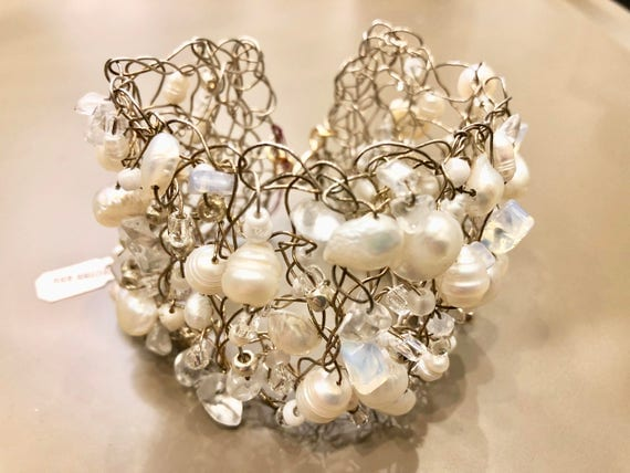 Handmade sterling silver wire crochet cuff bracelet with pearls, crystal, moon stones and glass beads