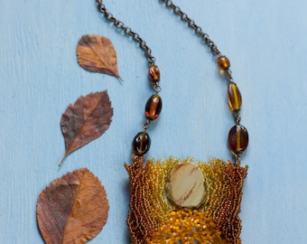 Petrified Wood Necklace for Autumn, Intricate Jewelry, Ombre Necklace, Necklace Fall Colors, Rectangle Pendant, Fall Leaf Necklace