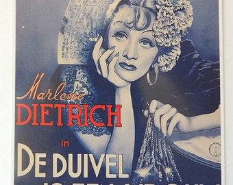 Marlene Dietrich in The Devil Is a Woman Film from 1935 Postcard