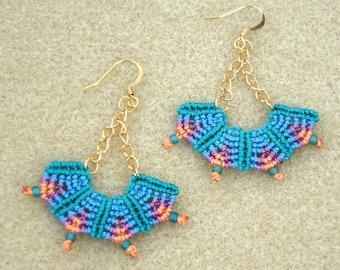 Tribal earrings, Macrame  earrings, micro macrame, knotted jewelry, boho jewelry, hippie, chic