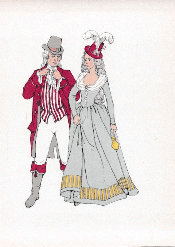 1940's print of 18th century man and woman in very fashionable outfits, wigs, ruffles, flounces, hats, published 1940