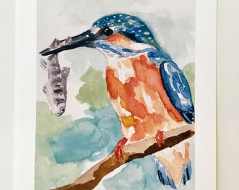 Kingfisher painting art print of bird watercolor 5x7