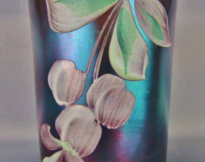 Carnival Glass - Northwood Enameled CHERRIES Blue Straight-sided HP Tumbler