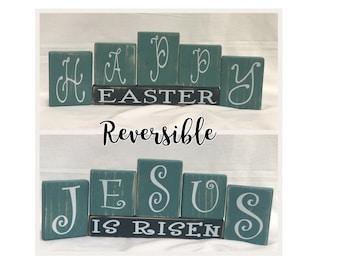 Wooden Blocks, Home decor: Happy Easter / Jesus is Risen, Reversible word display