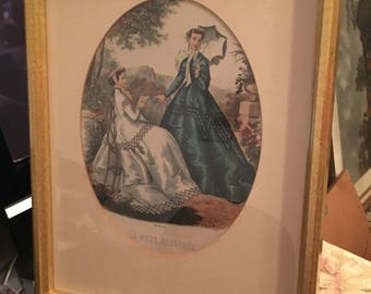 French Fashion Prints, La Mode Illustree, Victorian Dresses, Hoop Skirts, Green Hoop Dress, White Parasol, Brocade Embroidery, 12 x 15 Frame