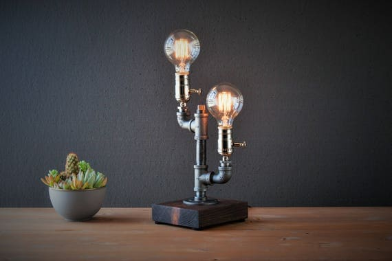 Dual Cactus Globe Industrial Lamp - Steampunk Lamp - Table Lamp - Edison Lamp - Vintage Light - Pipe Lamp - Bedside Lamp - Rustic Lighting