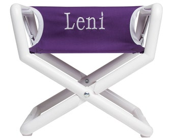 Purple/White Personalized Kids Director Chair   Kids Take Everywhere...in  Regal