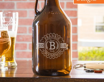 Groomsmen Gift, Custom Growler, Best Man Gift, Beer Growler, Bachelor Party Gift, Wedding Party Gift, Monogram Growler, Party Supplies
