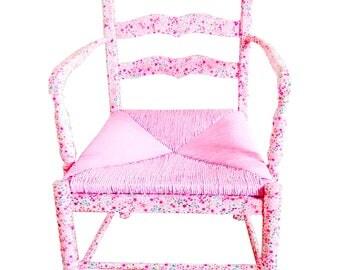 Fauteuil, chaise LIBERTY, rose en bois et paille avec motif liberty vernis-collé, upcycling par SophieLDesign