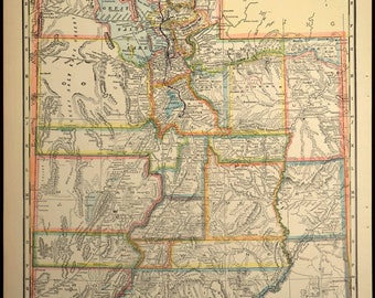 Antique Road Map of Utah Map Trolley Highway Original