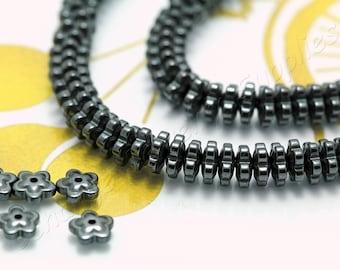Flower Rondelle Hematite, (6mm x 2,3mm) Flower Flat Hematite Beads, 1 Strand (85 pcs) Black Tiny Hematite Beads, Natural Hematite / HBY-073