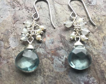 Silver dangle earrings with faceted blue quartz , and moonstone gemstones, and freshwater pearls