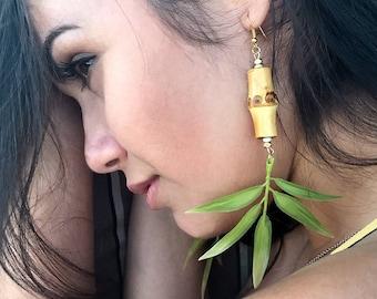 Handmade Leaf Earrings, Bamboo, Tropical, Goddess, Tribal, Beach, Sexy Earrings, Coachella, Unique, Boho, Long (Seaside Safari Earrings)