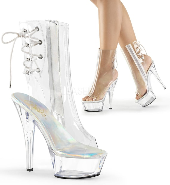 Sexy Clear Pleaser Platforms Ankle Mid-Calf Boots