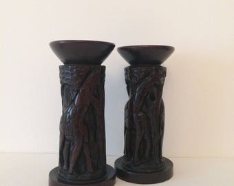 Pair of Vintage Wooden Candlestick Holders, African Art