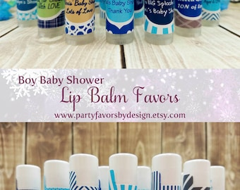 Custom Boy Baby Shower Themes | Boy Baby Shower Ideas | Boy Baby Shower Favors | 10 Clear Lip Balm Favors