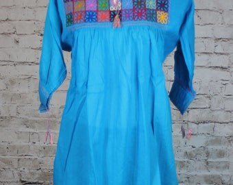 Handmade Rococo Mexican Blouse Oaxaca 100% Cotton Small Hand Embroidered