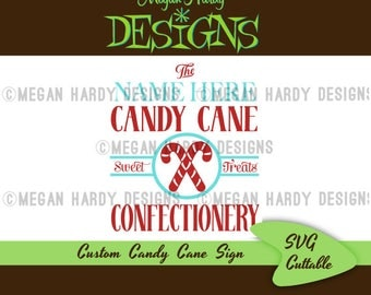 Custom Candy Cane Confectionery Sign SVG