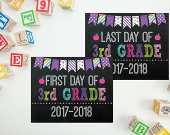 First Day of Third Grade School Sign - Back To School Printable - 3rd Grade Sign - Last Day of School Sign - First Day Chalkboard Sign