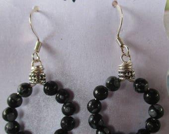 Snowflake Obsidian Hoop Earrings E1025174