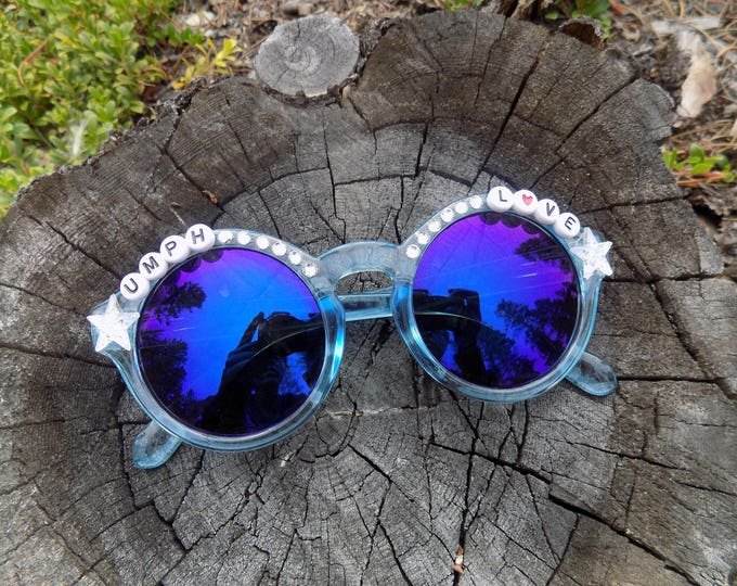 "Umphrey's Mcgee ""Umph Love"" hand decorated sunglasses, Umphreak shades perfect for festivals"
