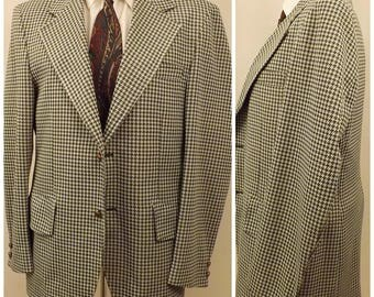 70's Green Gray Houndstooth Mens Sport Coat Size 40 R