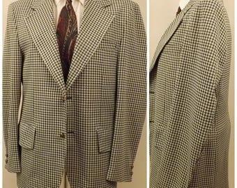 70's Green Gray Houndstooth Mens Sport Coat Blazer Size 40 R