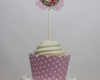 Floral Cupcake Toppers- 12