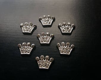 Silver Princess Crown Floating Charm for Floating Lockets-Clear Crystals-Gift Idea