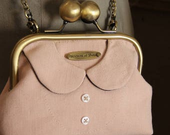 "Pink bag shoulder purse vintage ""Cecily's collar"""