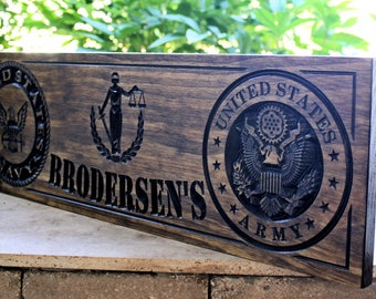 Military Sign-US Army-Navy Sign-Marines Sign-Custom sign-Personalized Wood Sign-Veterans Day Gift-(CWD-481)