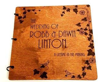 12 x 12 Hand Engraved wood Album - Large Images - Detailed - Custom - Wedding - Anniversary