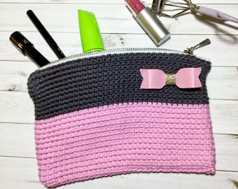 Pink and Gray Crochet Makeup Bag, Cosmetics Bag with Pink Bow, Crochet Clutch Purse