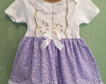 Baby Girl Dresses, Purple and Gold Little Girl Dress, Boutique Baby Dress, Tea Party Dress, 1st Birthday, Fancy Baby Dress, Special Occasion