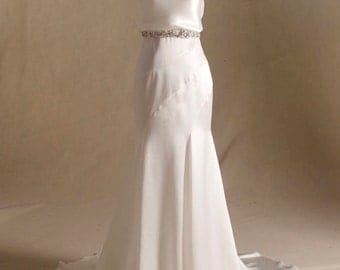 Silky Satin Wedding Dress with Beaded Rhinestone Belt