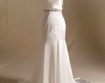 Silky Satin Wedding Dress with Beaded Rhinestone Belt
