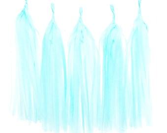 Tassel Garland, Light Blue Wedding Tassels (Set of 5) - Tissue Garland, Baby Shower Party Supplies, Party Banners, Streamer Backdrop