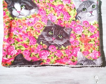 Gray Cats and Pink Flowers Cat Crate Mat Bed
