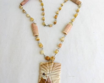 "Vintage Banded Agate Etched Pendant Beaded Necklace. Natural Salmon Agate Stone Bead 28"" inch Long Natural Stone Beaded Necklace"