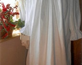 Plus Size Victorian white cotton nightgown with pintucks and lace
