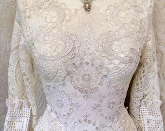 Wedding dress romantic, bridal gown white,boho wedding dress pure,handmade wedding dress,rawrags wedding dress,long sleeves,fairy wedding,